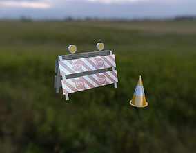 Traffic cone package 3D asset