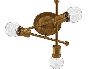 Kichler Armstrong 3 Light Flush Mount Natural Brass 3D