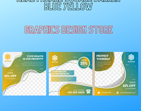 3D Healthcare Square Banner Blue Yellow