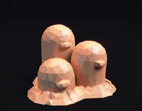 Dugtrio - Stylized LowPoly Art - 3D printable model