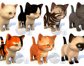 Cute Kitten Rigged Lowpoly 3D Model Collection Pack PBR