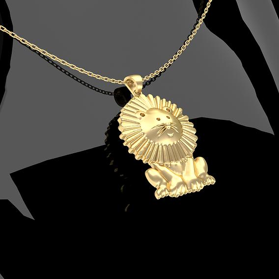Cartoon Sitting Lion Pendant Jewelry Gold 3D print model