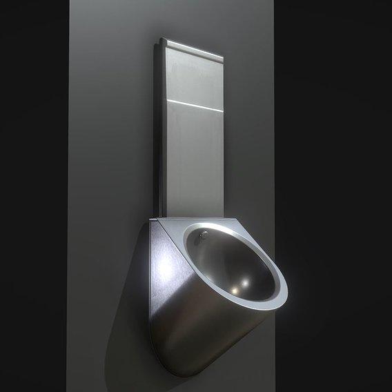 Metal Urinal Basin Textured High-Poly Version (Blender-2.93 Eevee)