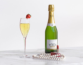 A bottle of champagne with glass next to pearls 3D model 2