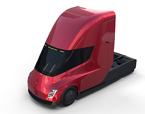 3D model Tesla Semi Truck Red