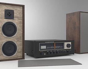 Vintage hi-fi amplituner speakers set PBR 3D model