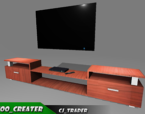 Modern tv cabinet furniture 3D model game-ready