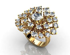 Yellow Gold Snowflake Engagement Ring 3D printable model