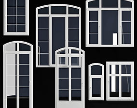 Wooden windows arc collection 3D