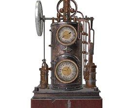 Vintage steampunk clock 3D asset VR / AR ready