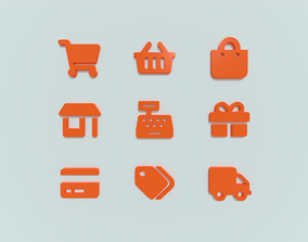 PBR E-commerce 3d icon collection