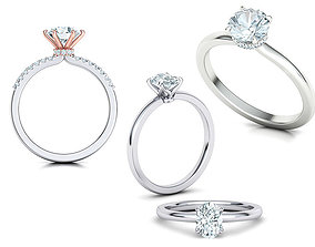 3D model Solitaire rings Collection with discount