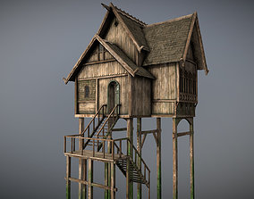 Medieval Lake Village - House 7 with interiors 3D asset