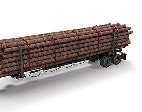 3D model Log trailer