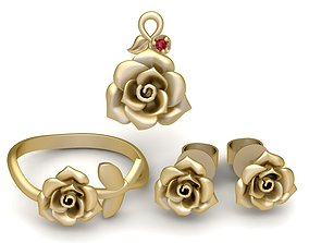 3D print model 1937 Set Rose Jewelry