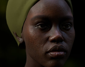 Realistic black female real-time head 3D model