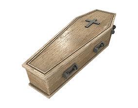 light wood coffin with metal cross 3D asset