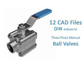 3D model 12 Files - Three Piece Ball Valves Buttweld - All