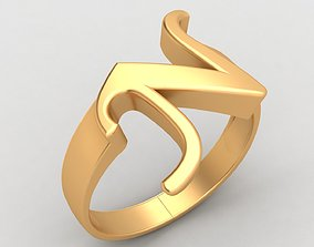 N Letter Fashion Gold Ring 3D print model