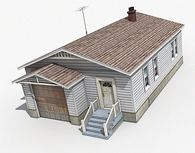 House 3D model low-poly garage