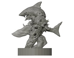 Shark-Man miniature 3D print model