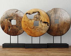 Teak Wood Table Top Decoration coin 3D