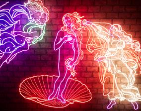 3D The birth of Venus in Neon design