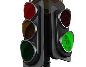 Traffic Light Cartoon and Normal Use 3D model