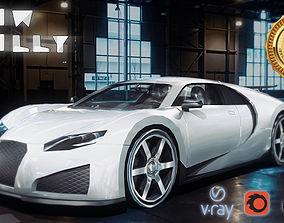 Bugatti Veyron Concept Car Low-poly 3D model