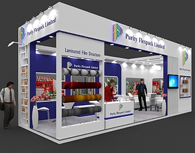 Exhibition stall 3d model 9x3 mtr 2sides open Purity