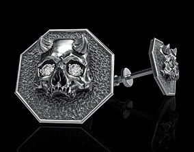 3D print model skull earrings studs art