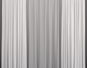 White curtains from tulle 3D