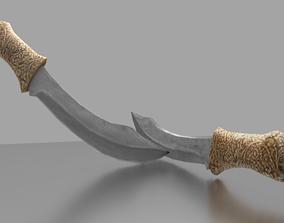 Jade and Ivory Blades 3D asset