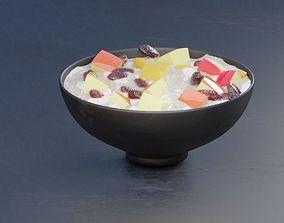 oat fruit and raisen meal food 3d model oats