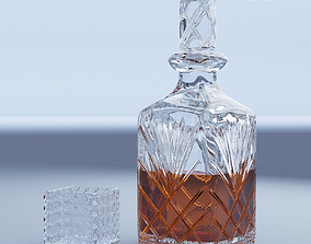 Crystal Decanter and Glass 3D model