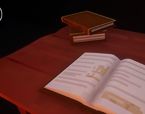 3D asset Low Poly Pixelated Books