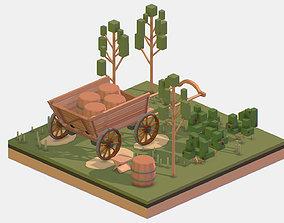 3D asset Isometric Village Wood Cart Barrel