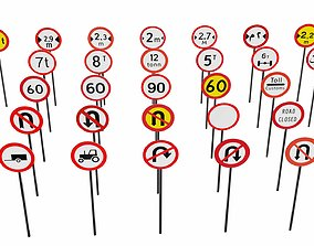 3D asset Prohibitory traffic signs Part 4