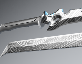 3D model Damascus Cyberpunk Katana and Machete