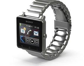 Sony Smart Watch 2 Silver Metal 3D asset