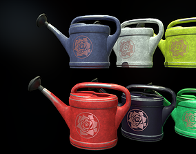 Six watering cans 3D asset