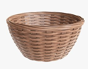 Wicker basket bowl with clipping path light brown 3D model