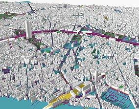 3D model Paris City skyline