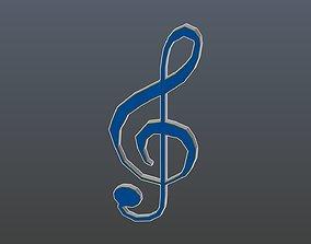 3D model Low poly treble clef