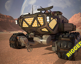 rigged game-ready Sci-Fi Mars Rover II 3D model