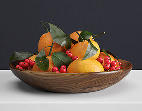 Mandarins and holly berries 3D