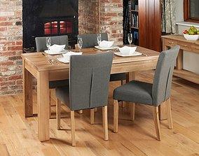 Deacon 7 - Piece Solid Oak Dining Set - X Option 3D