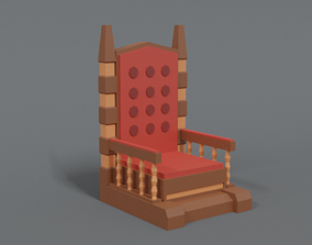 3D model Low Poly Cartoon Throne