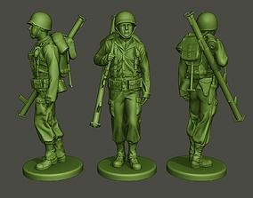 3D print model American soldier ww2 Bazooka walk A4