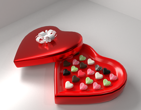 Heart Shape Chocolate Box with Ribbon 3D gift